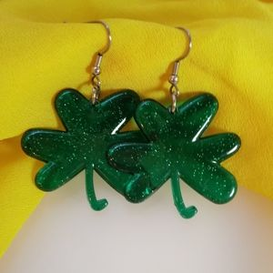 Irish St. Patrick's Day Four Leaf Clover Earrings